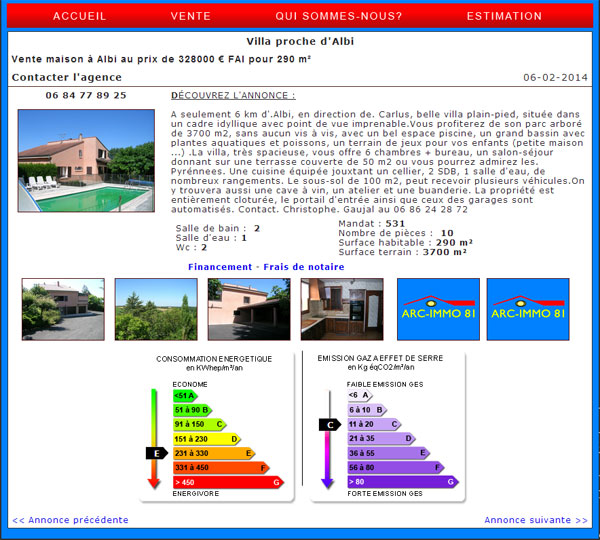 Cr ation site agence immobili re albi arc immo 81 dans le tarn for Immo immobilier