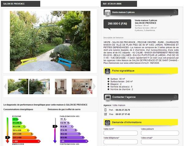Création site web immobilier Salon de Provence Votre